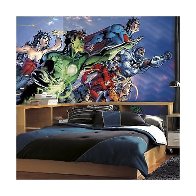 RoomMates JL1380M Justice League XL Chair Rail Prepasted Mural 6' x 10... NO TAX