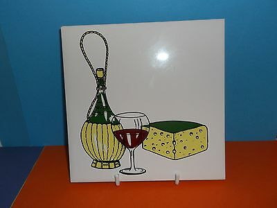 """A 6"""" Rectangular Nicely Decorated White Cheese 'Tile' (with Cork base)"""
