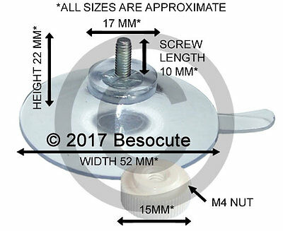 4 x ( 52mm Threaded Screw Suction Cups with Separate M4 Nut ) Suckers for Glass