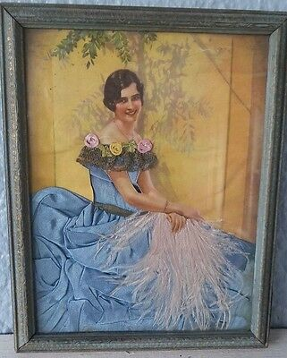 Vintage Homemade Framed Fabric Picture