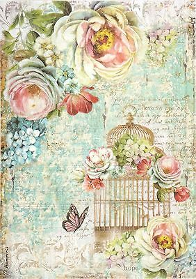 Rice Paper for Decoupage, Scrapbook Sheet, Craft Birdcage and Butterfly