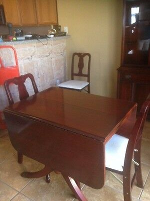 Antique Duncan Phyfe Drop Leaf Dining Mahogany Wooden Table, Chairs and Hutch