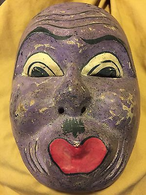 Vintage Kabuki Mask Purple Devil