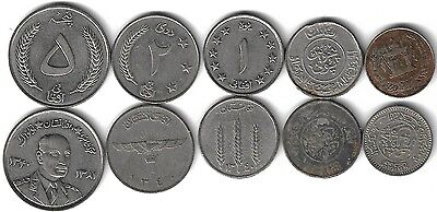 Afghanistan Complete set 5 coins 25 50 Pul + 1 2 5 Afghani 1937 1952 1961