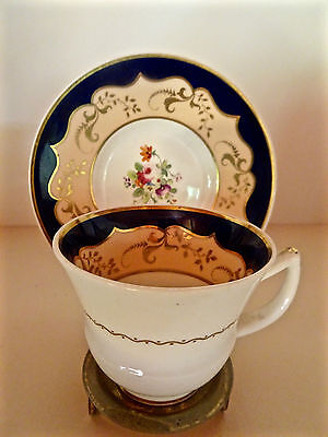 Antique Rockingham Cup & Saucer Rare Mark Hand Painted Decoration