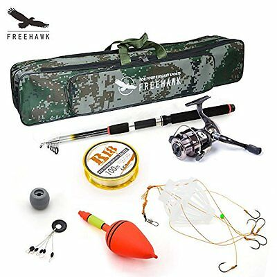 Telescopic Fishing Rod Poles KitTravel Spin Spinning Rod and Reel Combos with...