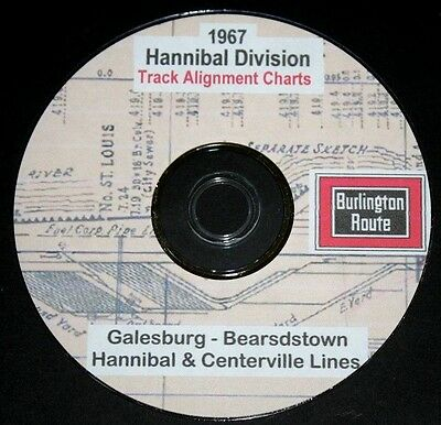 CB & Q RR Burlington 1967 Hannibal Division LinesTrack Chart PDF Pages on DVD