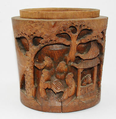 "Carved Chinese Bamboo Brush Pot Missing Lid (6 1/2"" Tall)"