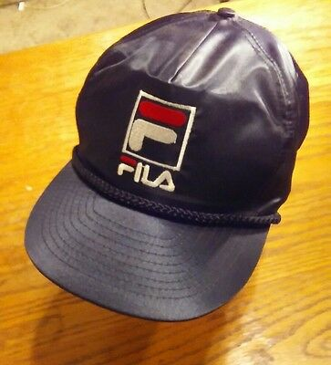 FILA Cap Hat Nylon Taffeta Black with White and Red Embroidered Lettering f8990d15241d