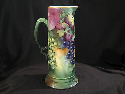 "Large Jpl Limoges Tankard - Hand Painted Grapes - 13 1/2"" Tall"