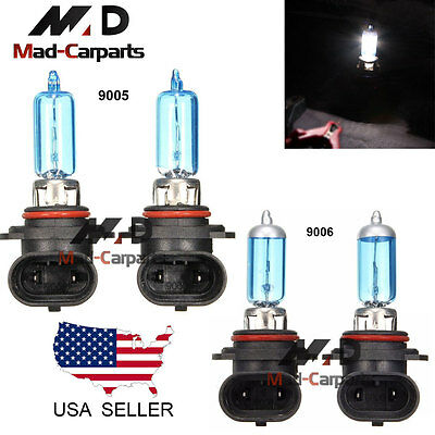 Combo 9005 + 9006 100w Halogen Xenon Headlight Light Bulb 6K White Hi Low Beam