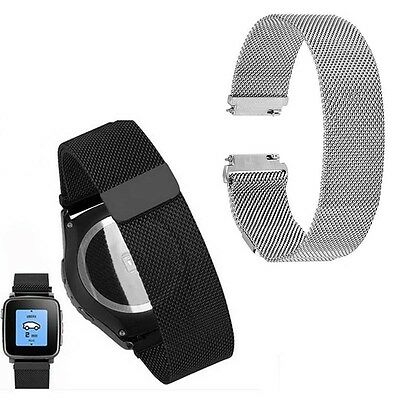 Adjust 22mm Milanese Loop Band Magnetic Wrist Strap for Pebble Time Steel Watch