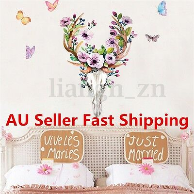 Removable Sika Deer Head Butterfly Wall Sticker Decal Living Room DIY Home Decor