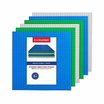 "Building Bricks - 10"" x 10"" Baseplate - Variety Pack (6 Pack) Compatib... NO TAX"