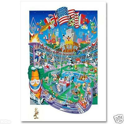 Melanie Taylor Kent signed REMARQUED Olympic Lithograph Original Wile E Coyote