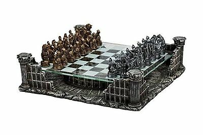 """16.25"""" Roman Gladiators 3D Chess Set Bronze & Silver Color 2-Day Delivery"""