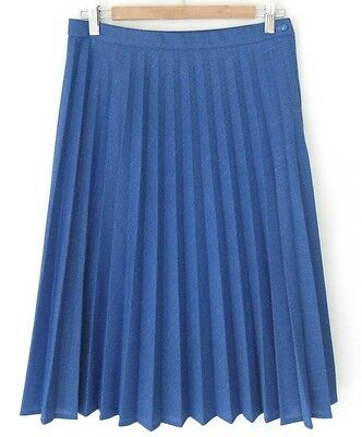 Vintage 1970s Blue Pleated Skirt M