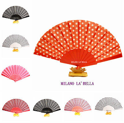 Plain Strong Fabric Hand Held Bamboo and Wooden Fan Wedding Party Prop