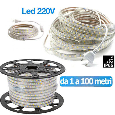 Striscia Led Flessibile Strip Led 5050 Interno Esterno 220V Bobina Da 1 A 100 M