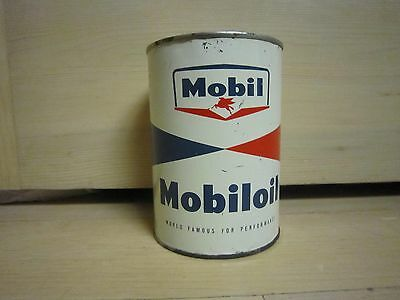 Vintage Oil Can Mobil Outboard Mobiloil NOS Full All Metal Very Rare Round Quart