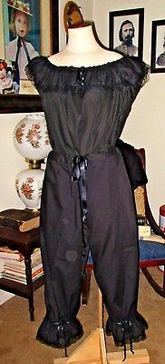 Civil War Dress Victorian Underpinnings Jett Black Mourning Pantaletts~Plus Size