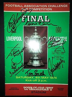 LIVERPOOL 1974 FA CUP PROGRAMME SIGNED x5 TOSHACK MCDERMOTT SMITH KENNEDY LAWLER