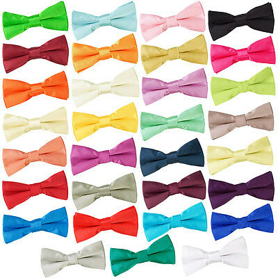 Boys Plain Pre-Tied Plain Bow Tie for Wedding Event for Ages 3 - 12 from DQT