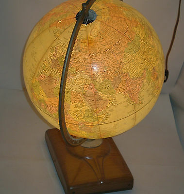 Rare 1971 QATAR Born Replogle World Globe Lamp Light illuminated Vintage Antique