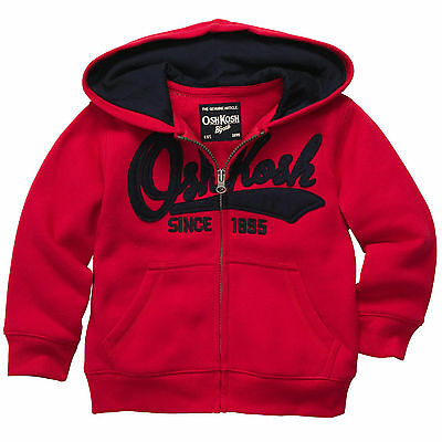 Oshkosh Toddler Boys French Terry Cotton Heritage Full-Zip Hoodie Red 18M 2T NWT