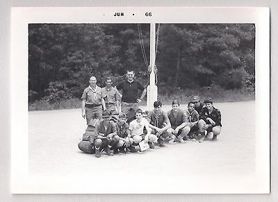 Boy Scout Troop Posing for Shot Vintage Photograph 1960's