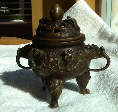 Antique Chinese Bronze Tripod Censer With 6 Character Xuande Mark