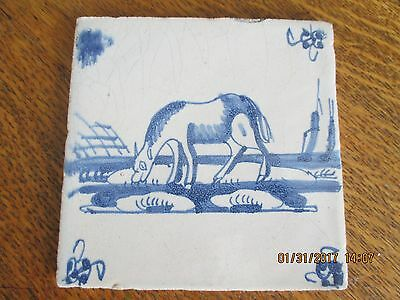 Antique Dutch 18th Century Delft Blue & White Tile - Horse Grazing