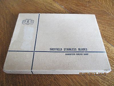SHEFFIELD England Six Steak Knives in Box Stainless Steel Blades Horn Handles