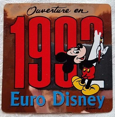 Rare Euro Disney Disneyland Ouverture En 1992 Pre Opening Mickey Decal Sticker