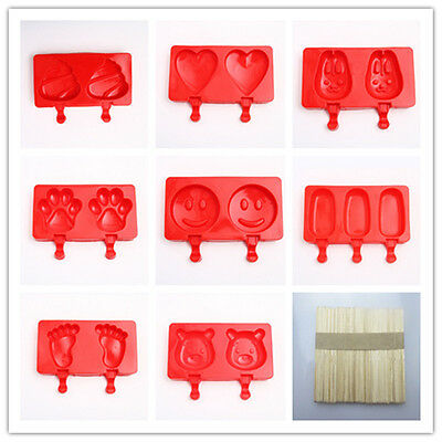 Silicone Ice Cream Mold Pop Ice Lolly Maker Frozen Mould Popsicle Chocolate Tray