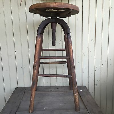 Antique Cast Iron & Wood Drafting Stool Vintage Early Industrial
