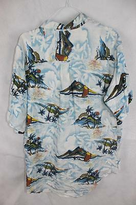 Vintage 80s HAWIAAN Punk New Wave SURF ELECTRO BUTTON UP SHIRT M Rad GNARLY