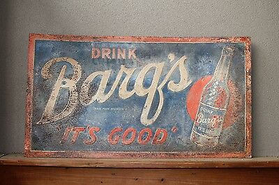 Rare Vintage Embossed Barq's Root Beer Metal Sign