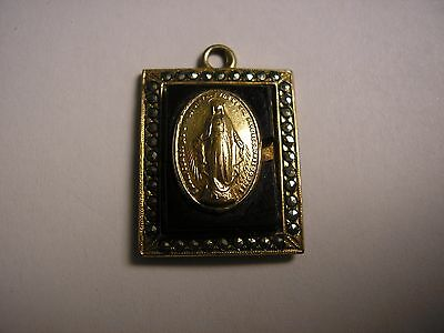 Vintage Catholic Miraculous Medal w/Marcasite Black Glass Marked 1/20 10K GF