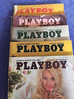 Lot Of 5 Vintage Playboy Magazines from 1974.