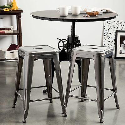 Outstanding New Set Of 2 Gunmetal Grey Kitchen Bar Counter Height Gmtry Best Dining Table And Chair Ideas Images Gmtryco