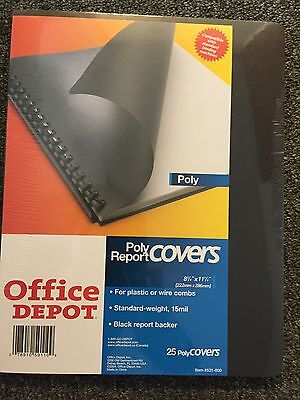"""Office Depot® Brand Poly Report Covers, 8 3/4"""" x 11 1/4"""", Black, Pack Of 25"""