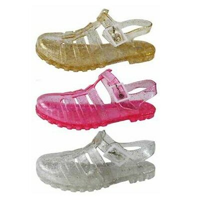 Childrens Kids Girls Glitter Jelly Sandals Pink Gold Clear Sparkle Holiday Water