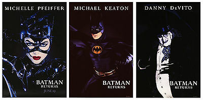 Batman Returns (1992) Set Of 3 Original Advance Movie Posters  -  Rolled