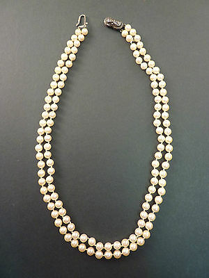 Good Double Strand Cultured Pearl Necklace With Marcasite Clasp