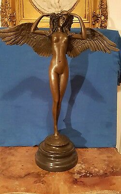 "SIGNED A.A.Weinman, bronze statue winged woman Nude Angel ""Descending Night"" Art"