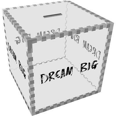 Large 'Dream Big' Clear Money Box / Piggy Bank (MB00024700)