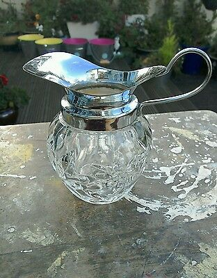 Vintage Glass Milk Jug With Silver Plated Top