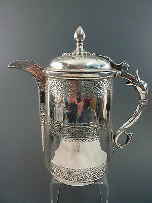 INDIAN SILVER COFFEE POT, C19th, POSSIBLY KASHMIR