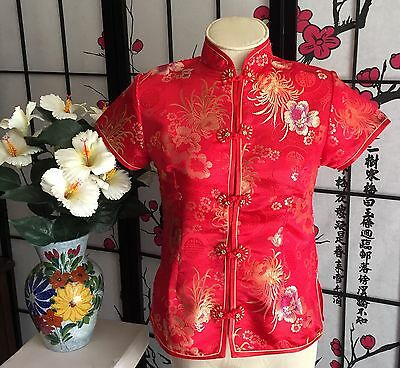 AUTH ZENSATION WOM M {Runs Lk XS/S} FLORAL CHINESE BLOUSE TOP GOLD BEADED FROGS